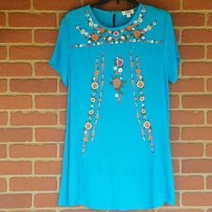 UMGEE Floral Embroidered Blue Tunic A Line Dress M